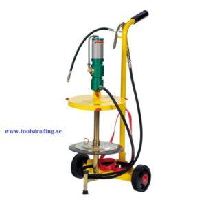 Smörjutrustning pneumatisk  60:1 för fat 18 - 30 kg på hjul försedd vagn