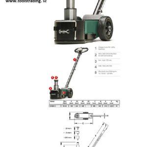 Domkraft luftdriven 40/20 Ton # 2-C40-20CA