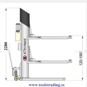 Billyft 1-pelare  elektro hydraulisk- lyft kapacitet 2500 kg , mobl #  ATH-1.25-M