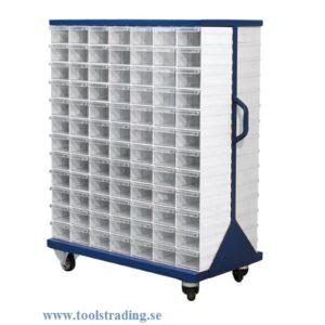 Plastlåd kabinett med 204 plastlådor hjulförsedd #SMBL-D105-120