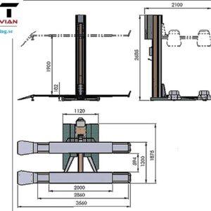 Billyft 1 pelare mobil # NDL-DHM-1200