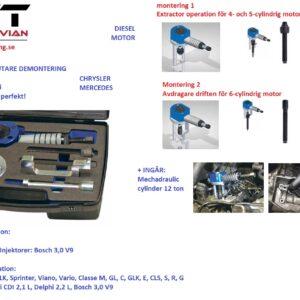 Bränsleinsprutnings demonterings verktyg set