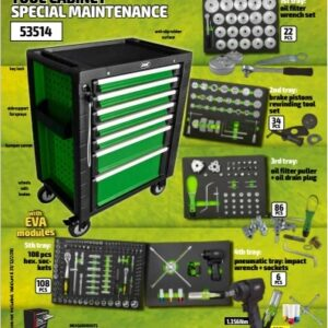 Verktygsvagn  Grön med 256 verktyg# JBM-53514