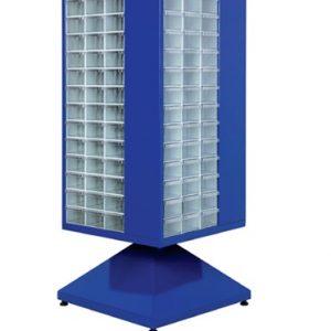 Roterande metall Kabinett med 180 st plastlådor