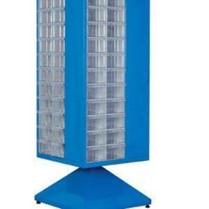 Roterande metall Kabinett med 104 st plastlådor
