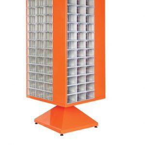 Roterande metall Kabinett med 156 st plastlådor