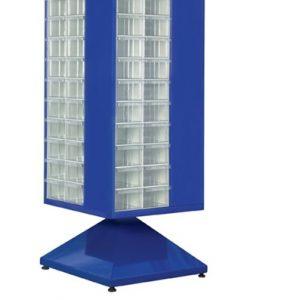 Roterande metall Kabinett med 88 st plastlådor