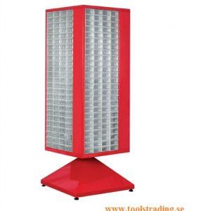 Roterande metall Kabinett med 400 st plastlådor