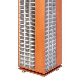 Roterande trä Kabinett med 240 st plastlådor
