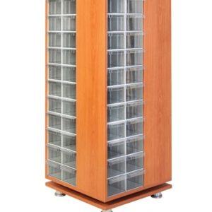 Roterande trä Kabinett med 104 st plastlådor