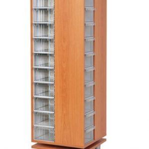Roterande trä Kabinett med 48 st plastlådor