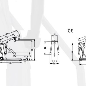 Verkstadskran  Max 1000 kg dubbel verk pump